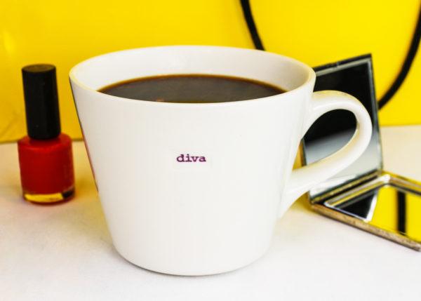 """White Bucket Mug """"diva"""" 350ml"""