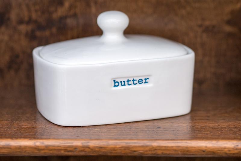 White ceramic designer butter dish