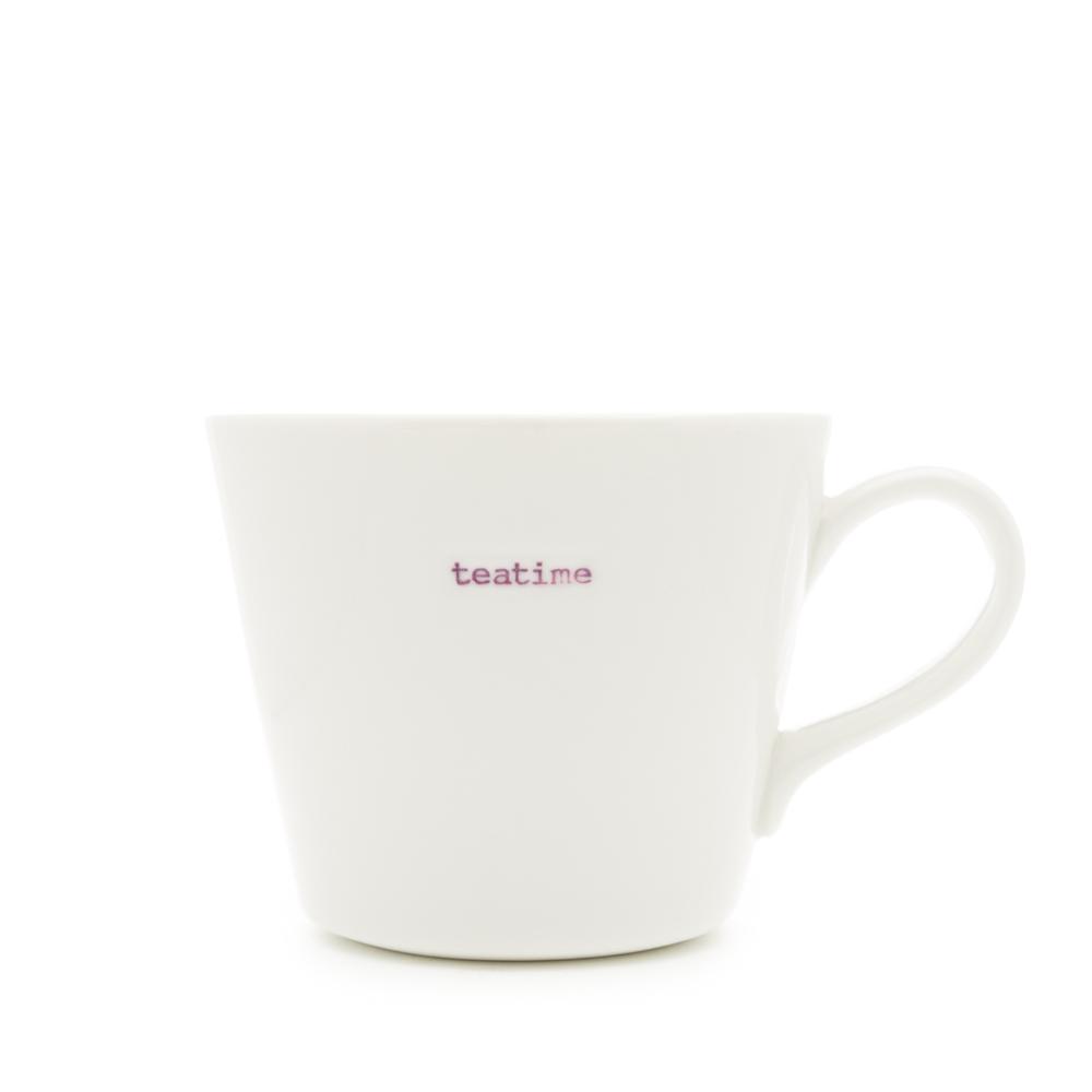 White Bucket Mug Quot Teatime Quot 350ml Keith Brymer Jones