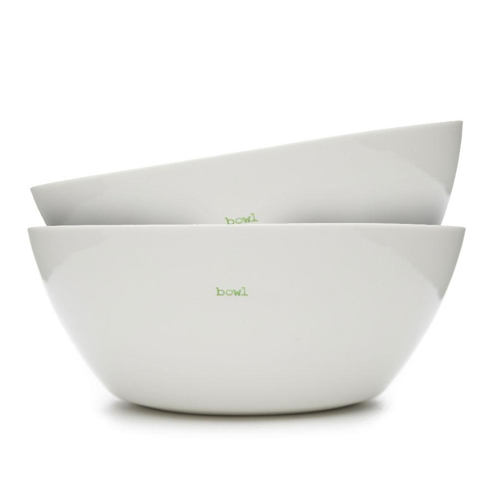 Set of 2 Large White Bowls - Bowl