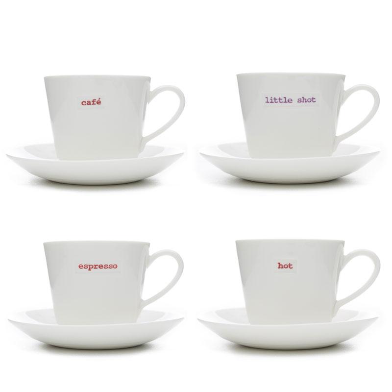Espresso Cup Saucer Set Of 4 Little Shot Hot Café