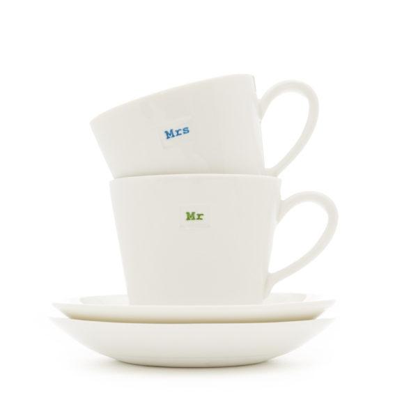 "Set of 2 Espresso Cup & Saucer | ""Mr"" & ""Mrs"""