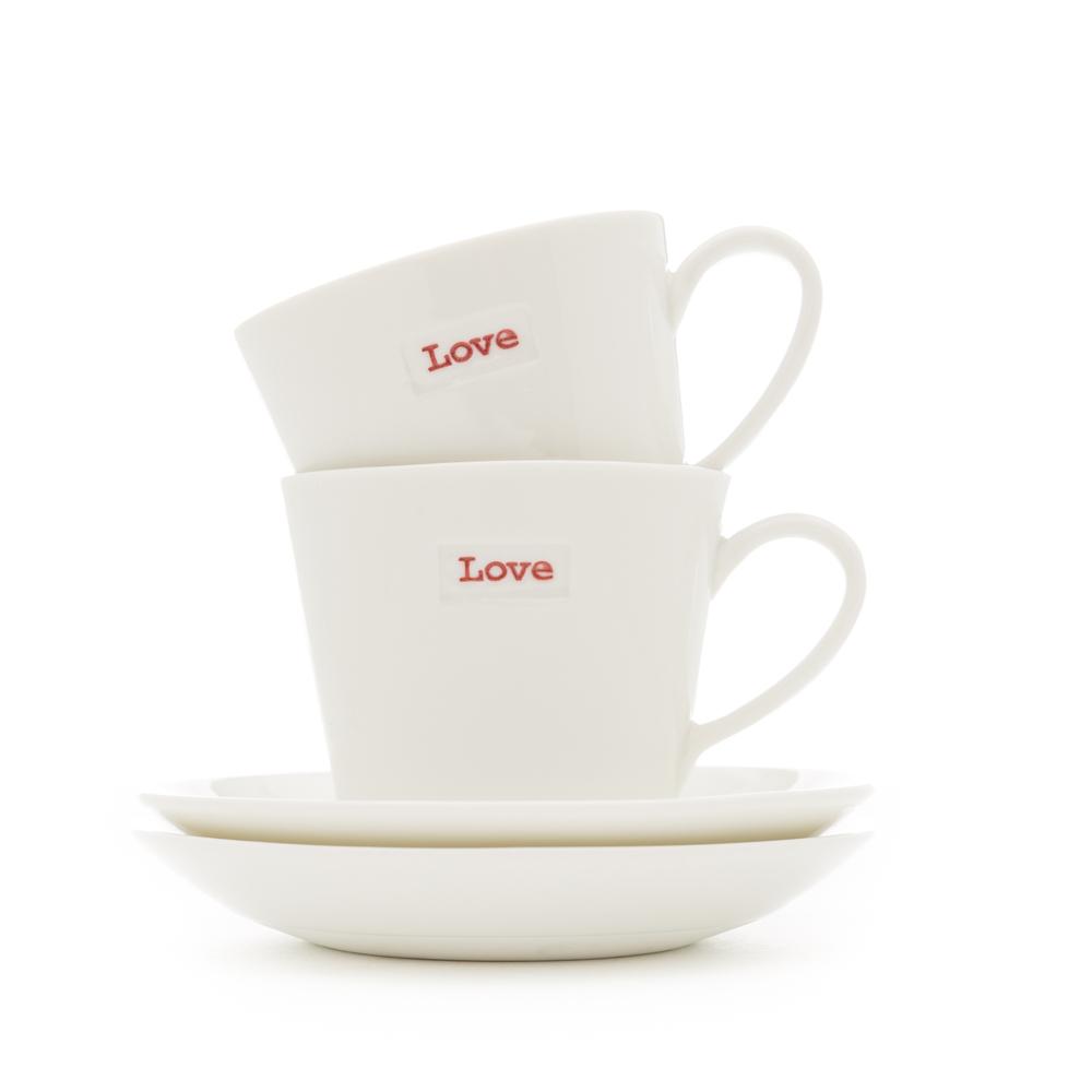"Set of 2 Espresso Cup & Saucer | ""Love"""