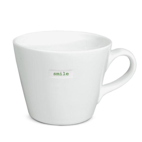 "White Bucket Mug ""smile!"" 350Ml"