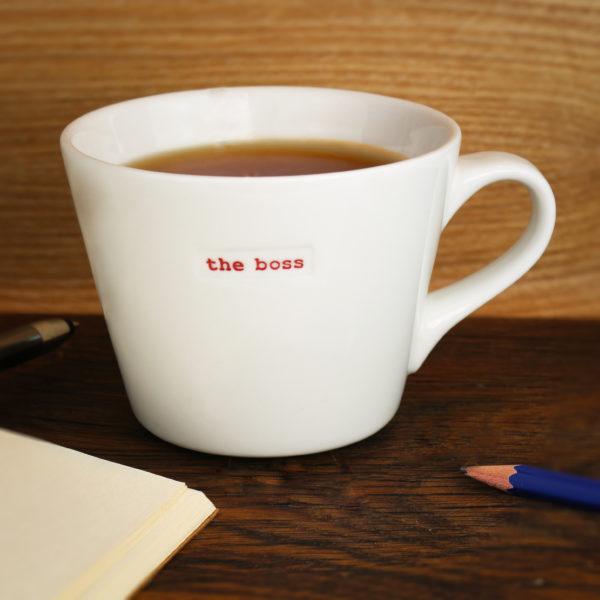 """White Bucket Mug """"the boss"""" 350Ml"""