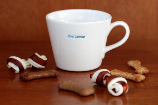 "White Bucket Mug ""dog lover"" 350ml"
