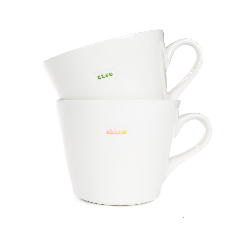 Standard Bucket Mug Pair 350ml - rise shine