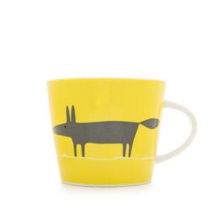 Scion Mr Fox Mug 350ml - Yellow & Charcoal