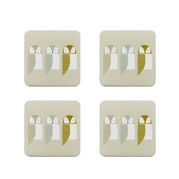 Coasters set of 4 - Barnie Owl