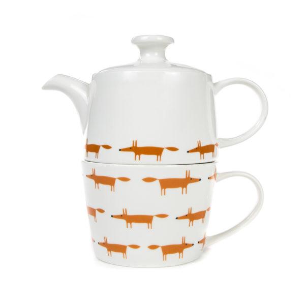 Scion Mr Fox Tea for One Set   Ceramic & Orange